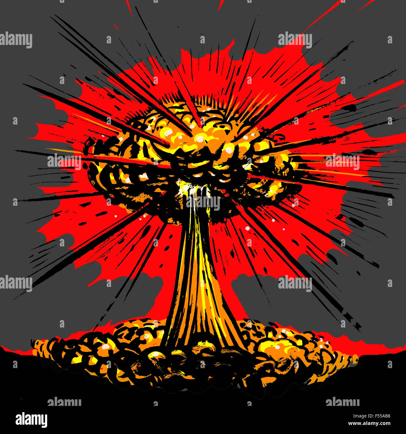 Illustrative image of nuclear explosion against gray background - Stock Image