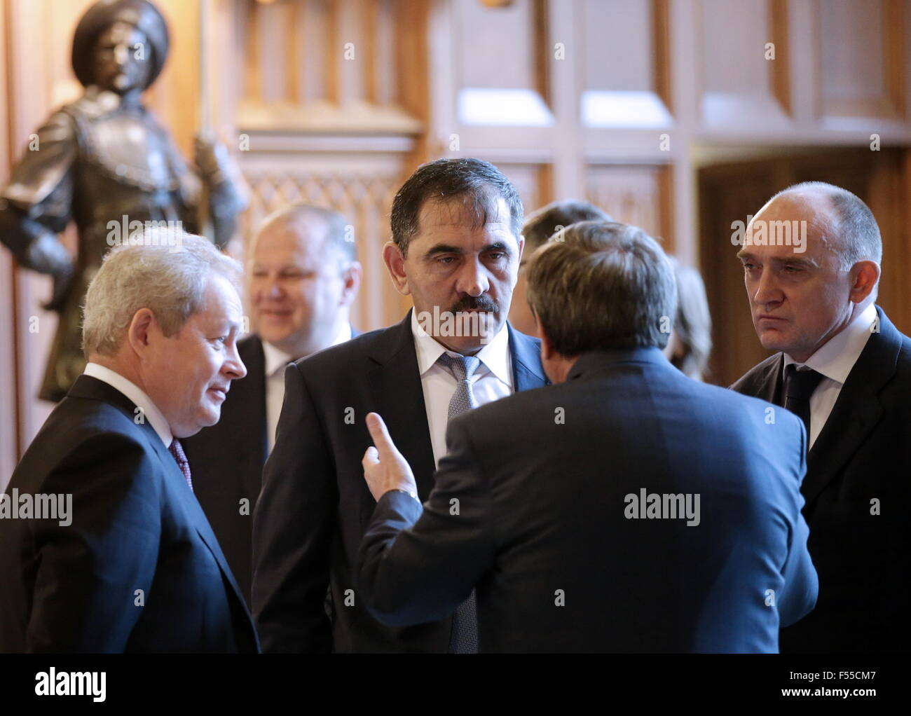 Moscow, Russia. 28th Oct, 2015. Perm Territory Governor Viktor Basargin, Yunus-bek Yevkurov (L-R), head of the Republic - Stock Image