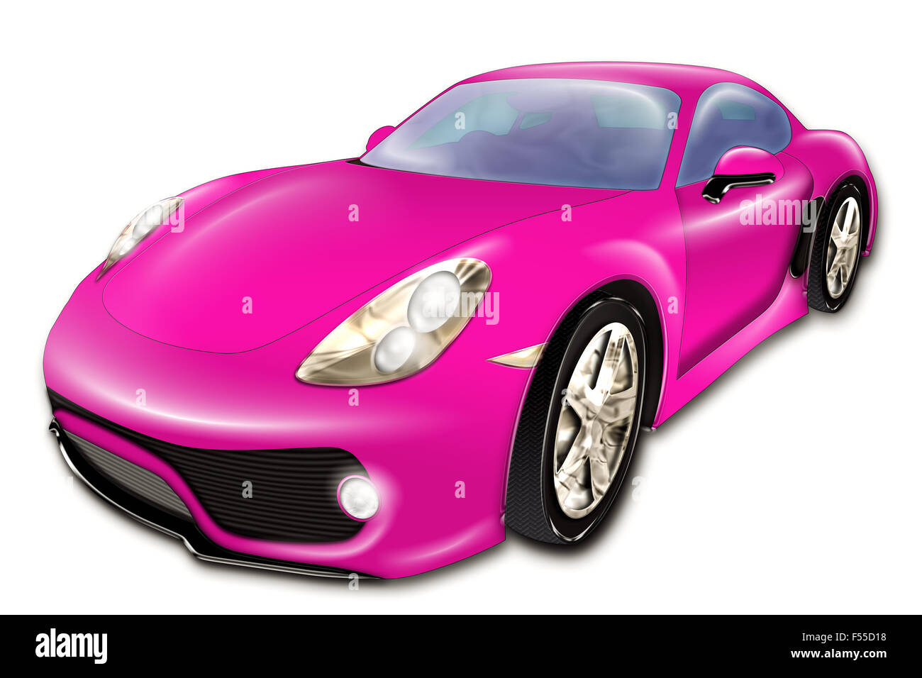 Pink Sport Car Stock Photo