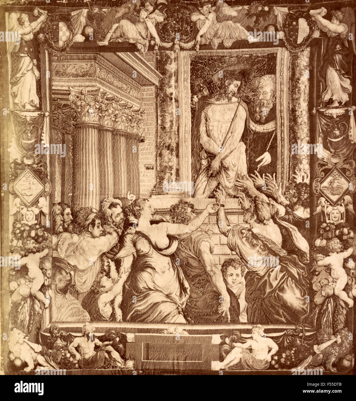 Tapestry Gallery, Florence: Jesus Christ shown to the people by Pilate, tapestry N. Karcher, cartoon by C. Salviati - Stock Image