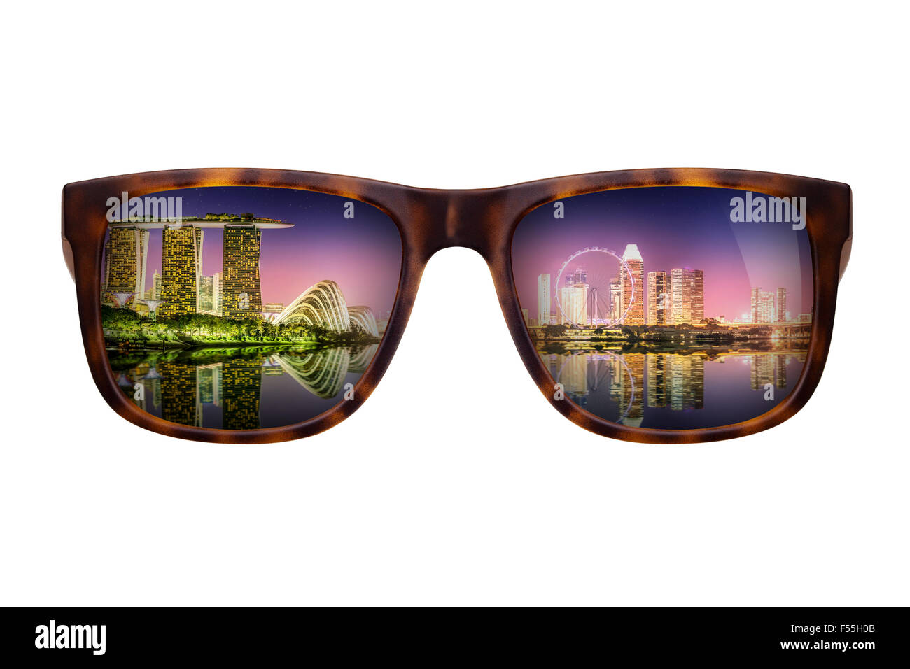 Trendy sunglasses with a reflection of a beautiful panorama of Singapore isolated on white - Stock Image