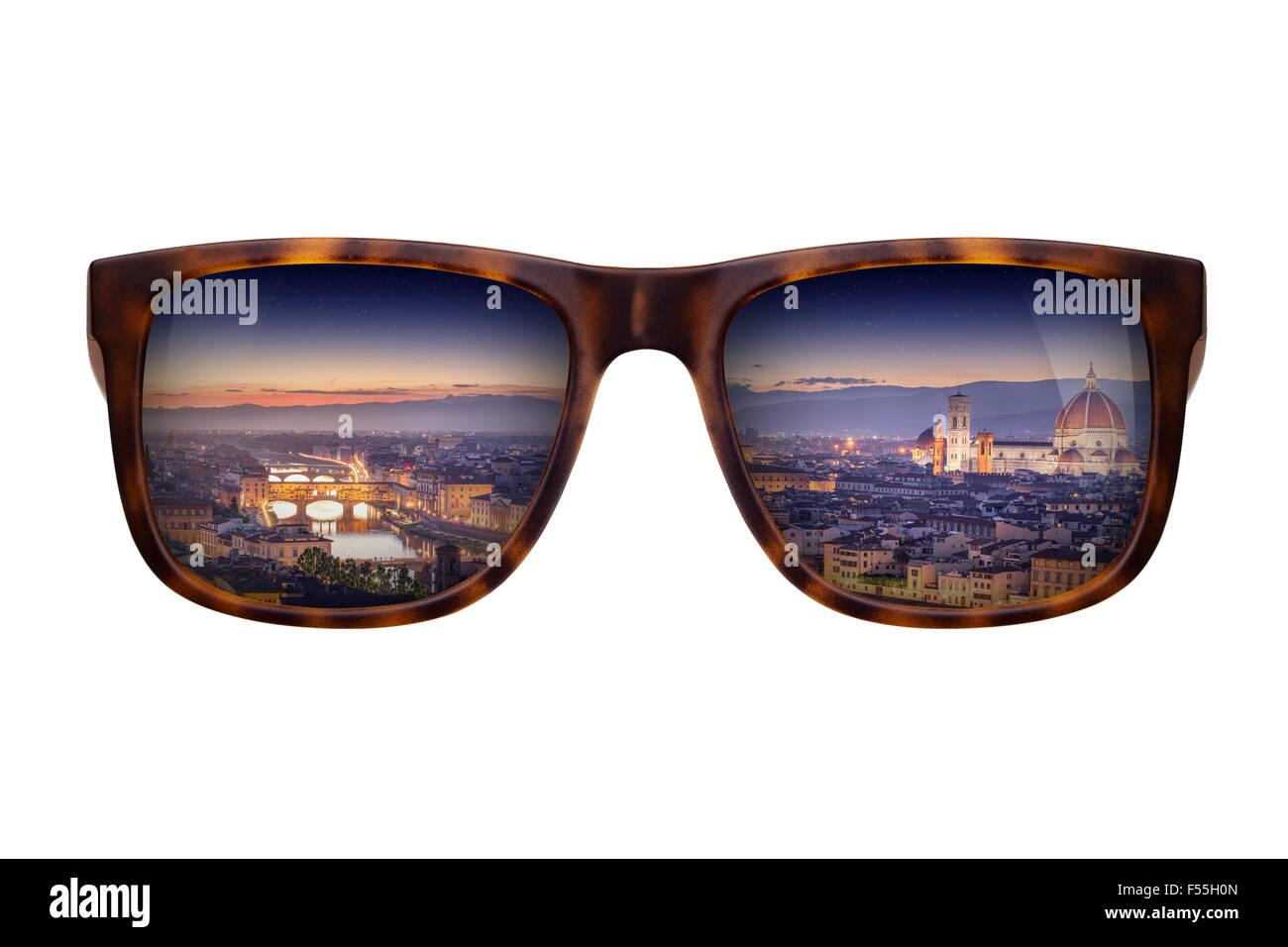 Trendy sunglasses with a reflection of a beautiful panorama of Florence isolated on white - Stock Image