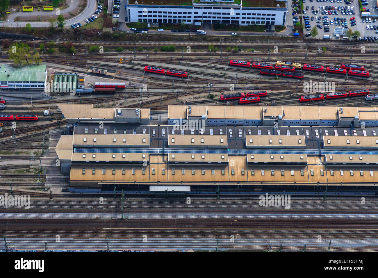 Germany, Bavaria, Munich, Locomotive depot - Stock Image