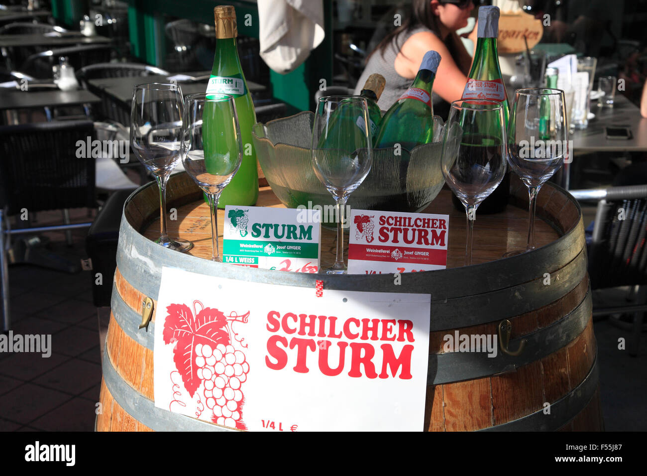 Naschmarkt, stall with young wine (Sturm), Vienna, Austria, Europe - Stock Image