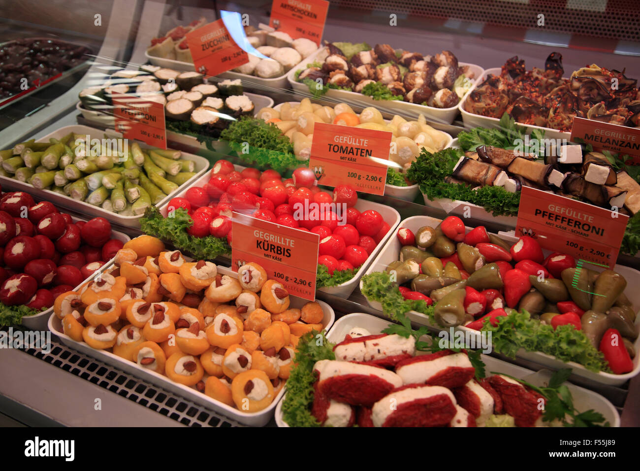 Various food products on sale at Naschmarkt  stall,  Vienna, Austria, Europe - Stock Image