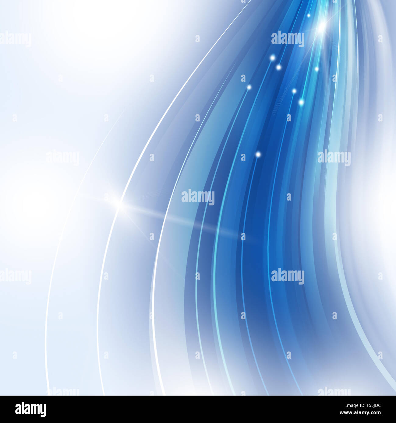 abstract blurred motion graphic technology blue background - Stock Image