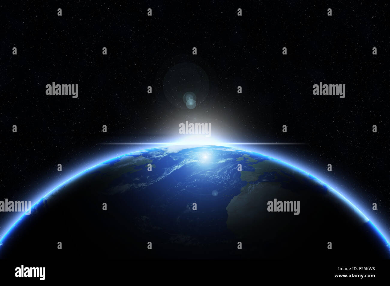 Planet earth with sunrise in space - elements of this image furnished by NASA - Stock Image