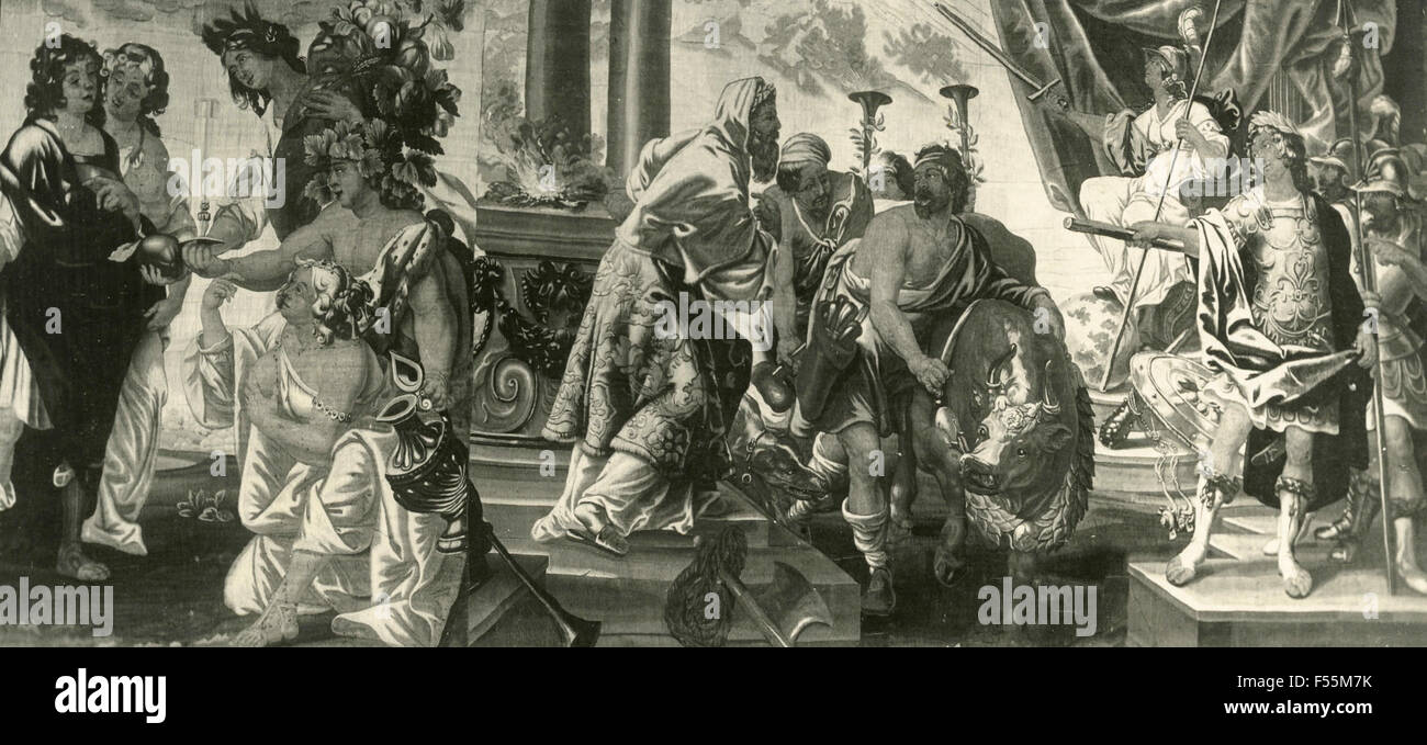 The sacrifice of the victorious, tapestry - Stock Image