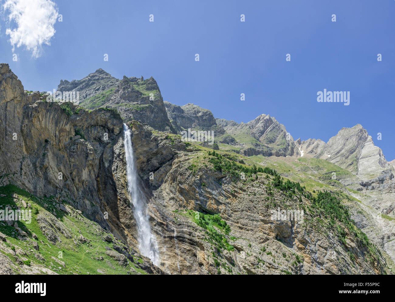 Cascada de Marboré, waterfall, Valle de Pineto, Aragon, Spain - Stock Image