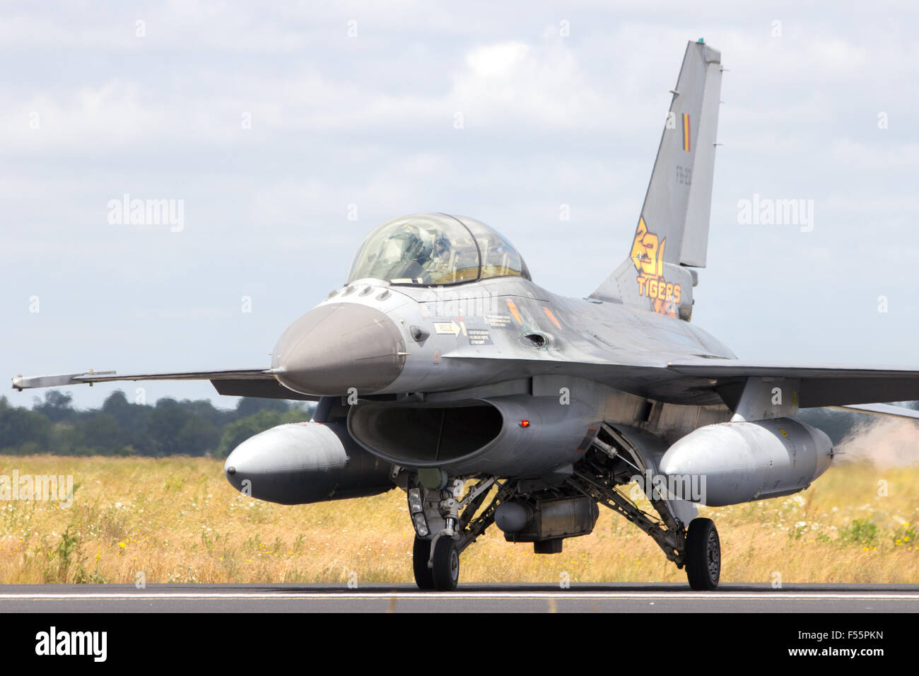 Belgian Air Force F-16 fighter jet during the NATO Tiger Meet at Schleswig-Jagel airbase - Stock Image