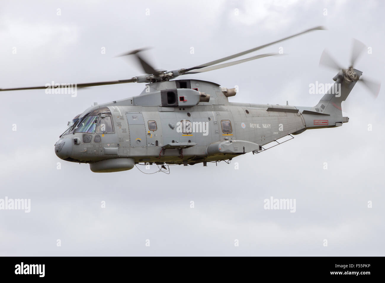 UK Royal Navy Merlin helicopter flying during the NATO Tiger Meet at Schleswig-Jagel airbase. - Stock Image