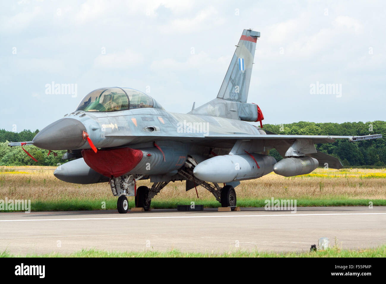 Greek Air Force F-16D on display at Royal Netherlands Air Force Days. - Stock Image