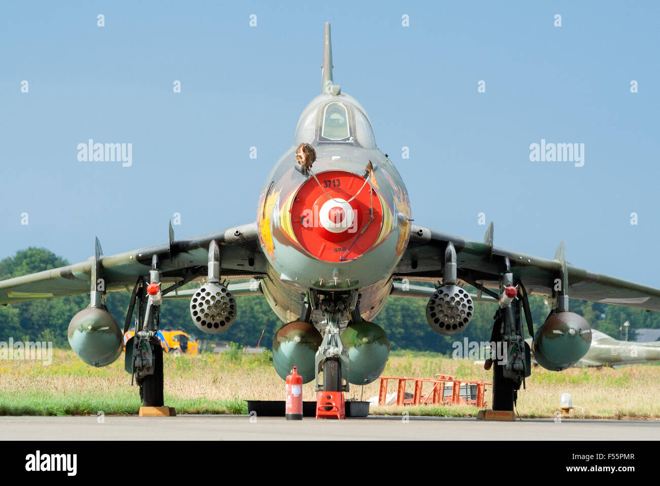 Polish Air Force Sukhoi Su-22 fighter jet on display at the Royal Netherlands Air Force Day - Stock Image