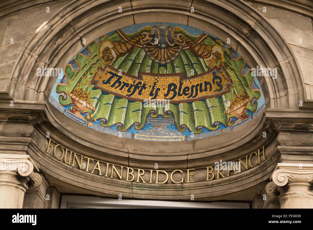 'Thrift is Blessing' mosaic  over entrance to Lloyds TSB Fountainbridge Branch, Edinburgh, Scotland,UK - Stock Image