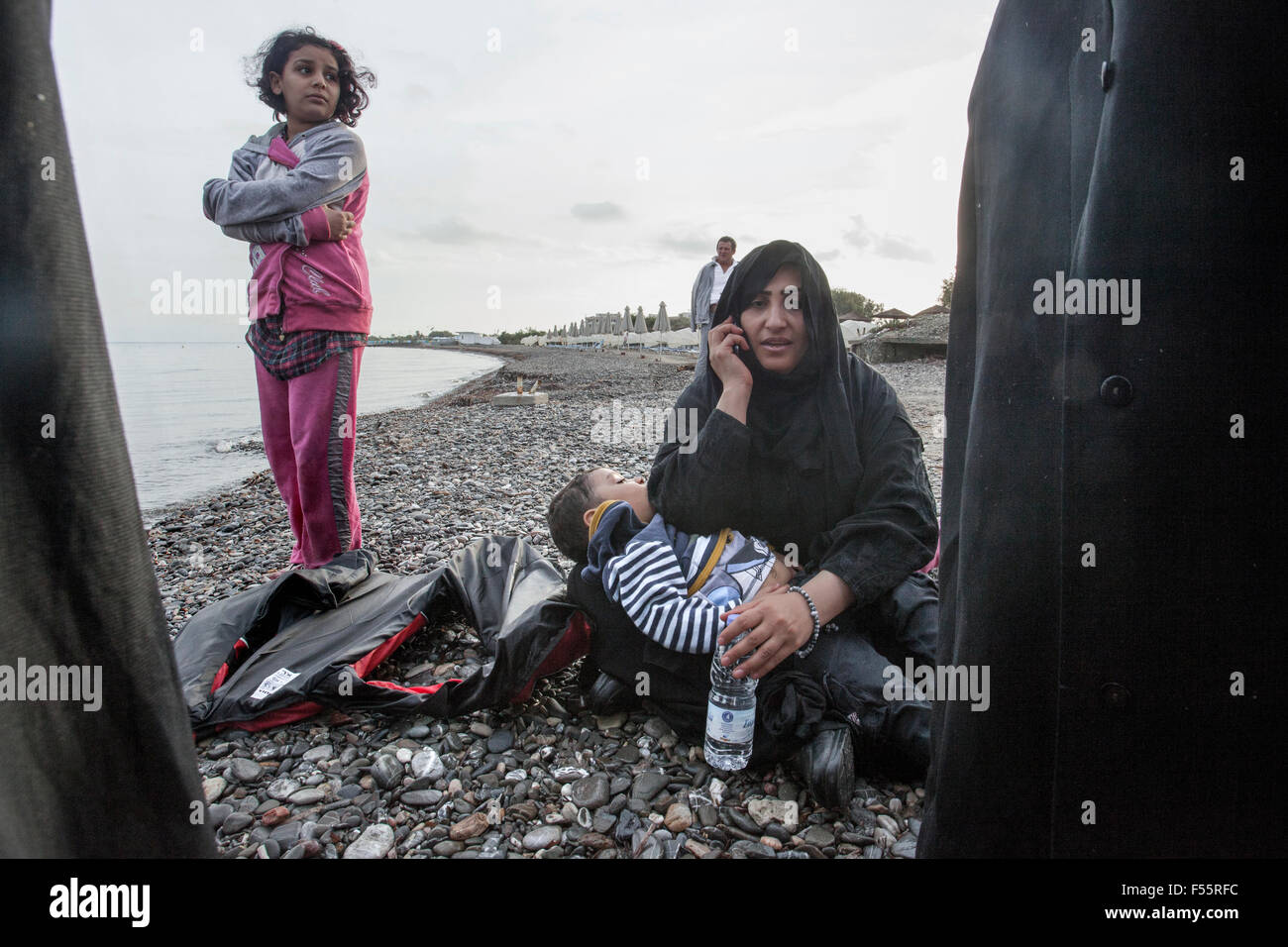A lot of refugees call their family or Turkish side to tell them they are alive and they have succeeded. - Stock Image