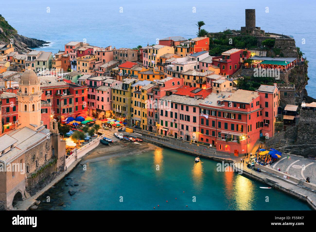 Vernazza (Latin: Vulnetia) is a town and commune located in the province of La Spezia, Liguria, northwestern Italy. - Stock Image