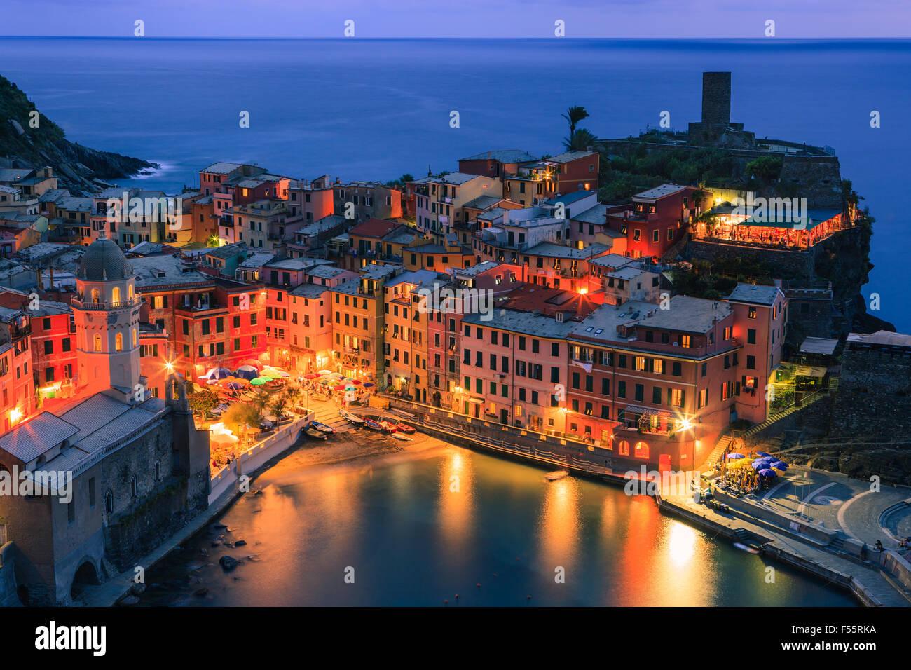 Vernazza (Latin: Vulnetia) is a town and commune located in the province of La Spezia, Liguria, northwestern Italy. Stock Photo