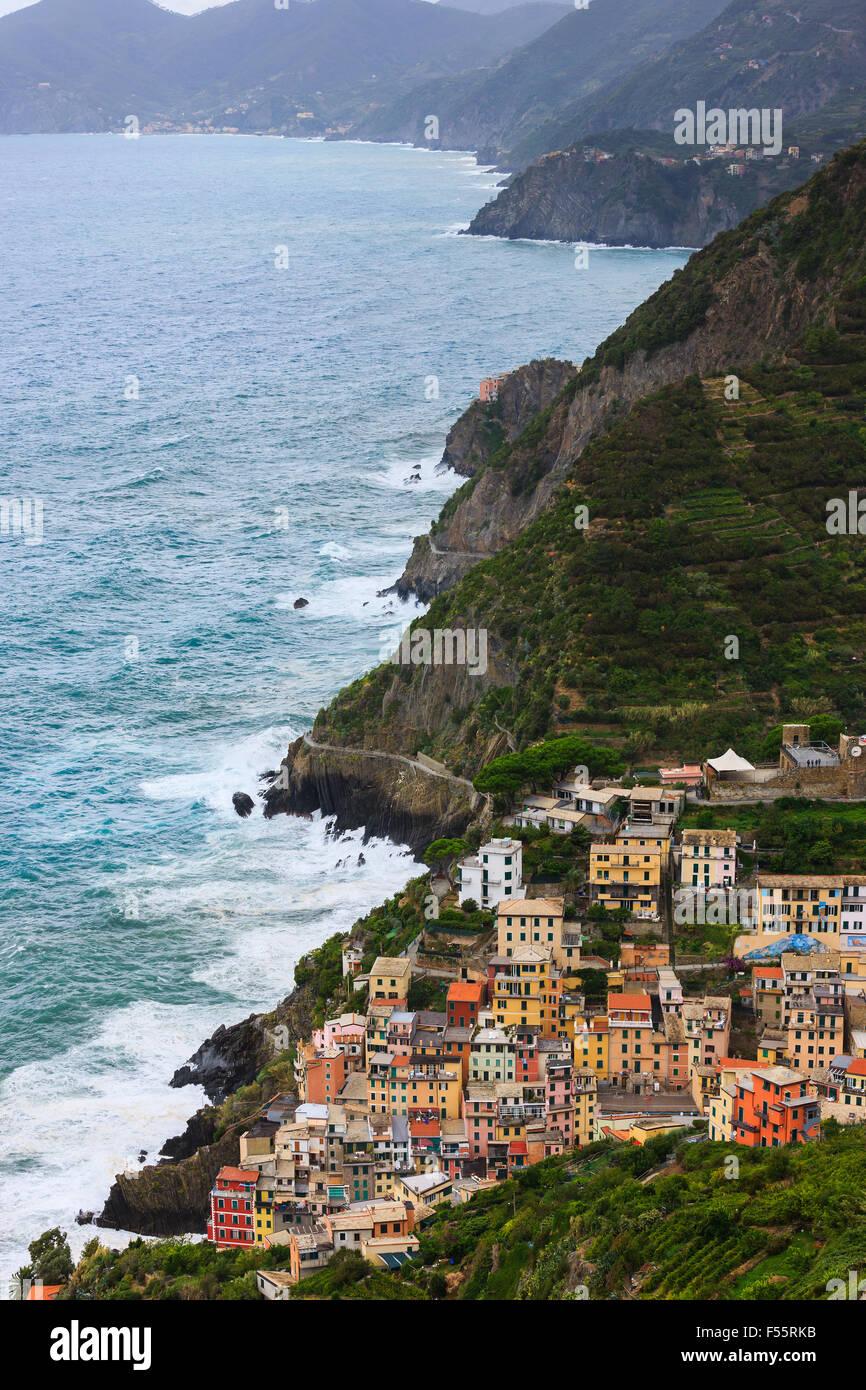 Riomaggiore is a town and commune located in the province of La Spezia, Liguria, northwestern Italy. - Stock Image