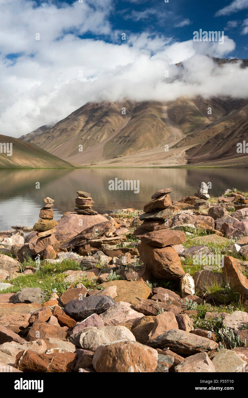 India, Himachal Pradesh, Spiti, Chandra Taal, Full Moon Lake, early morning, stone cairns on lake shore - Stock Image