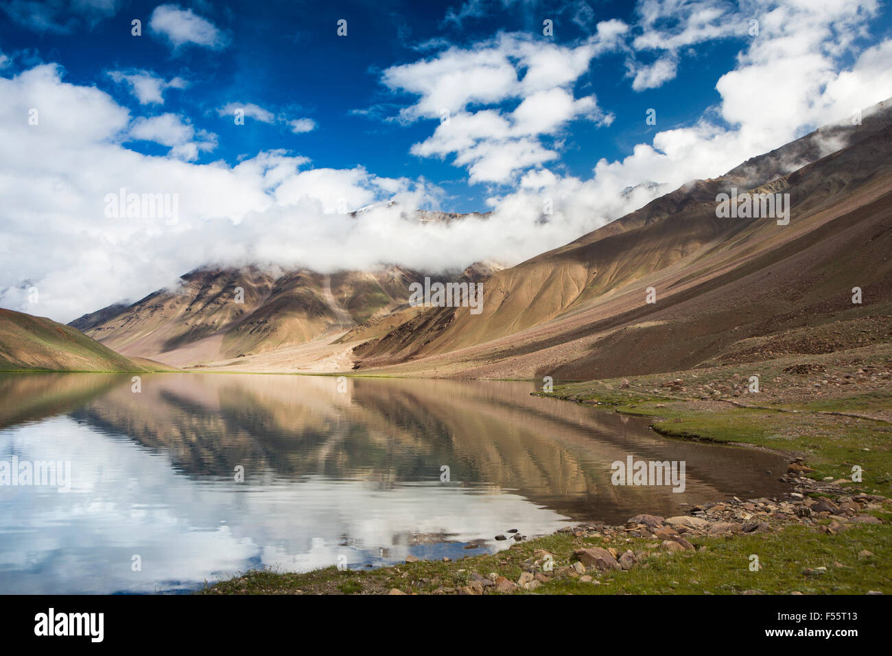 India, Himachal Pradesh, Spiti, Chandra Taal, Full Moon Lake, lake shore early morning - Stock Image