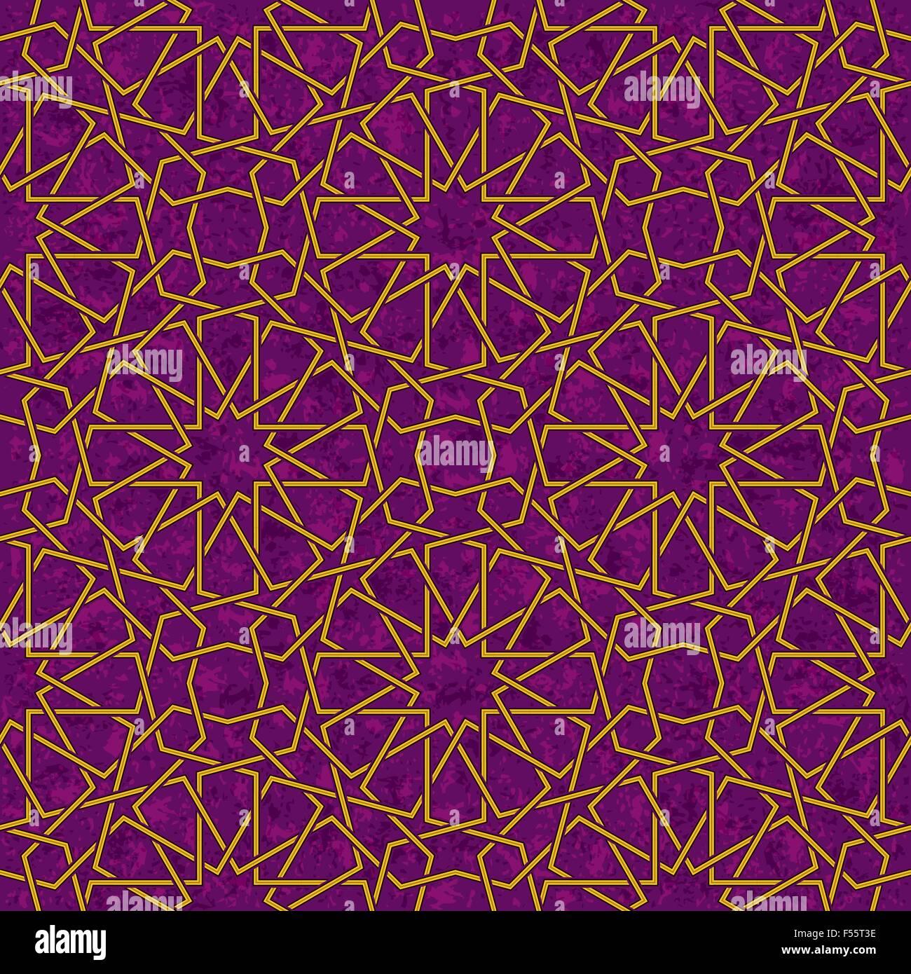 Arabesque Star Pattern with Grunge Purple Background, Vector Illustration - Stock Image