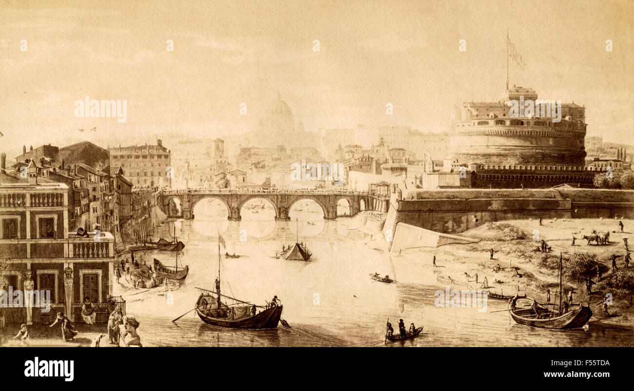 Picture gallery National Ancient Art , Palazzo Corsini, Rome: View of the Bridge and Castel S. Angelo, painting - Stock Image