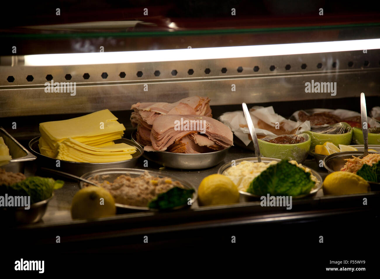 Sandwich Bar display of Food; salad, meats and fillings - Stock Image