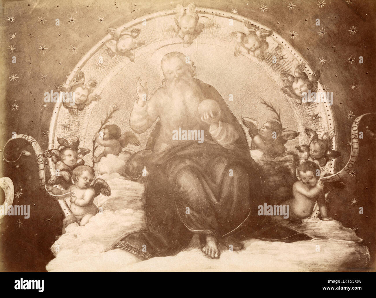 Collegio del Cambio: God's blessing, seated in glory, detail of the ceiling, painted by G. Manni - Stock Image