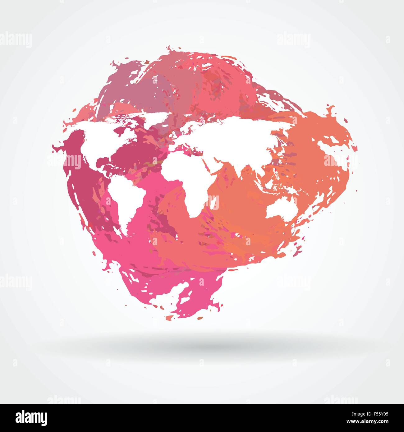 World map on a stain - Stock Vector