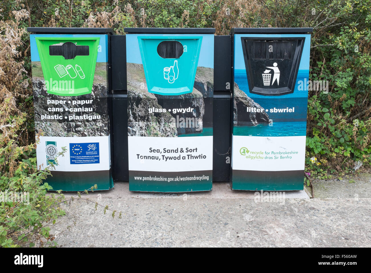 Recycling Bins at St Brides on the Pembrokeshire Coast Path in Wales Stock Photo