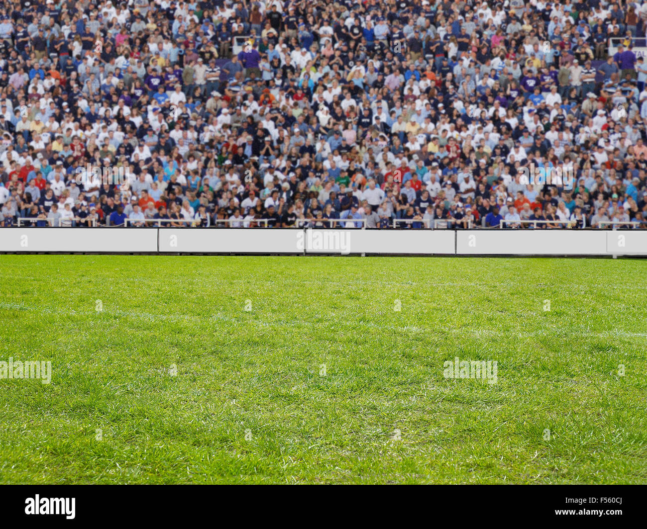 crowd watching a game on grass in a stadion - Stock Image