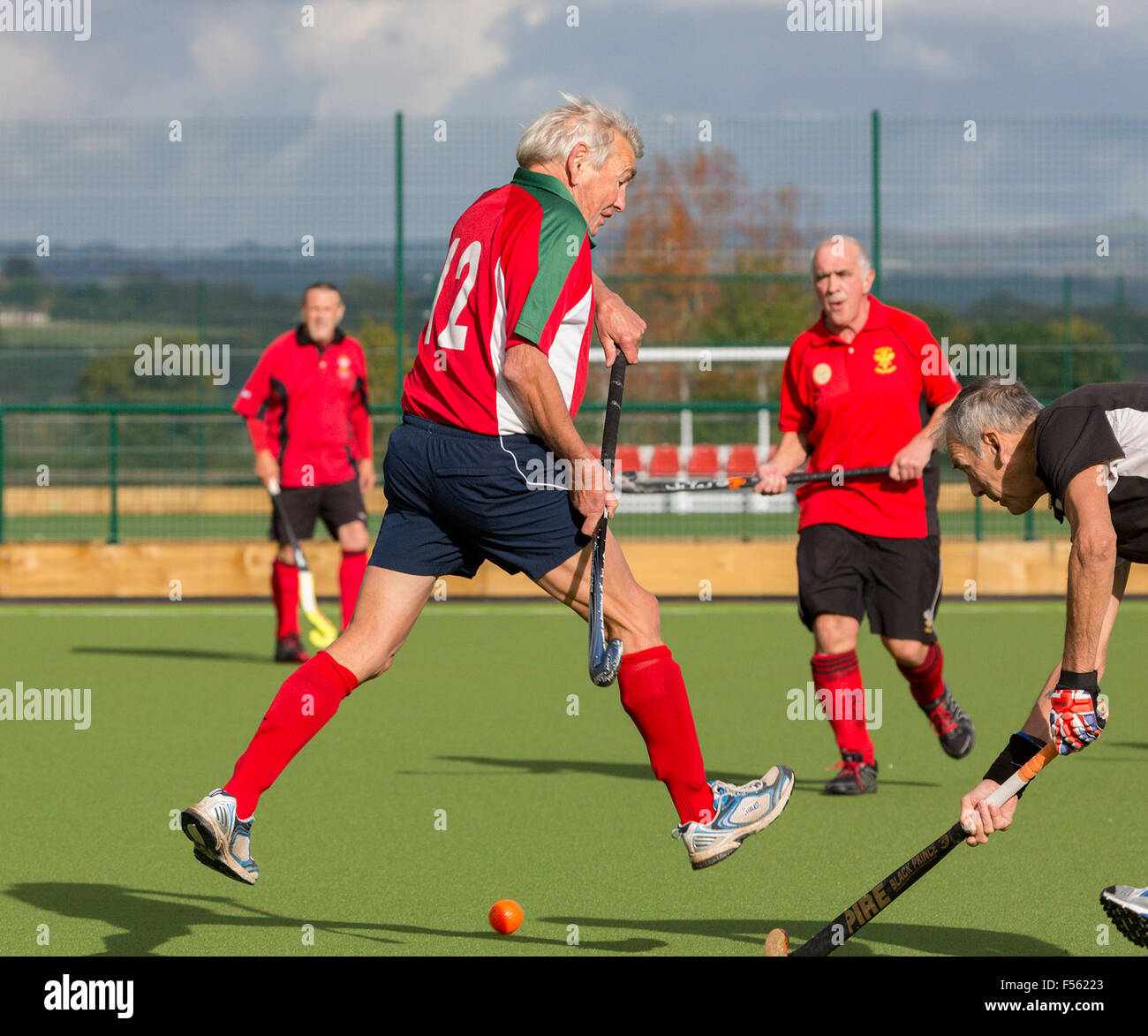 Millfield School, Somerset, UK. 28th Oct, 2015. Welsh hockey international Malcolm Chorlton shows that being over - Stock Image