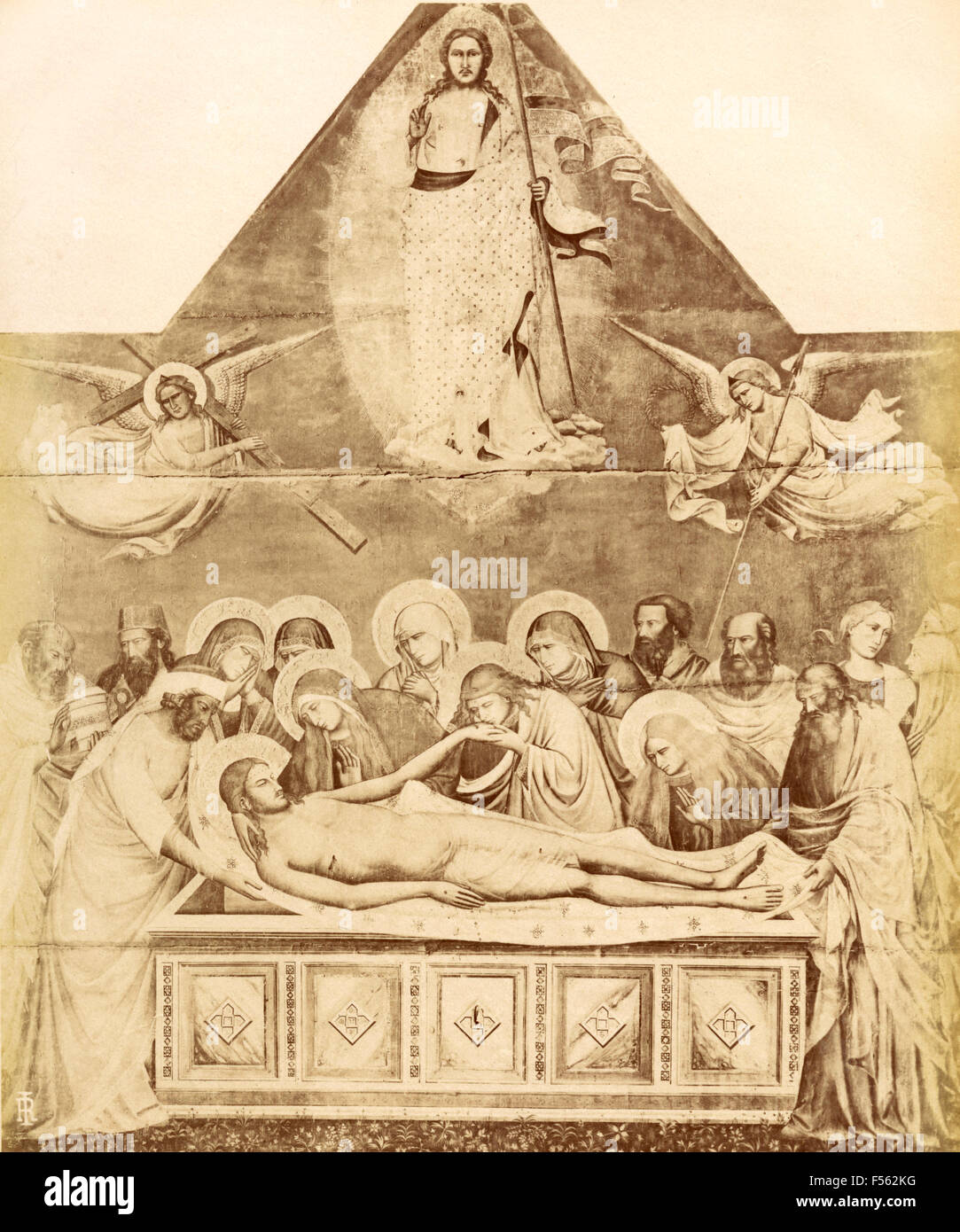 Ancient and Modern Gallery, Florence: Jesus died, laid in the tomb, by Taddeo Gaddi - Stock Image