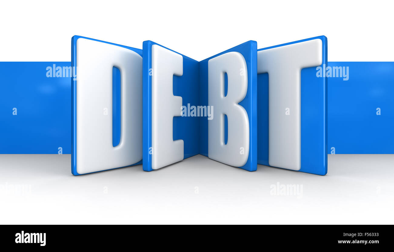Label with debt (clipping path included) - Stock Image