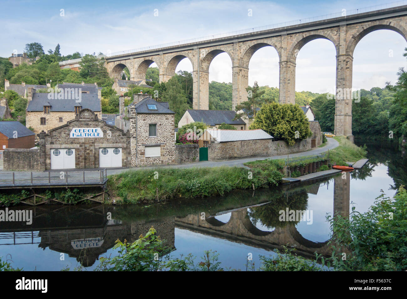 The viaduct at Dinan, Brittany, France, crossing the river Rance Stock Photo