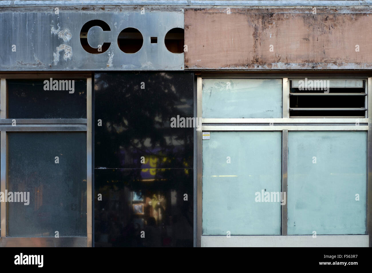 city center branch of the co op bank closed down and boarded up portsmouth england uk - Stock Image