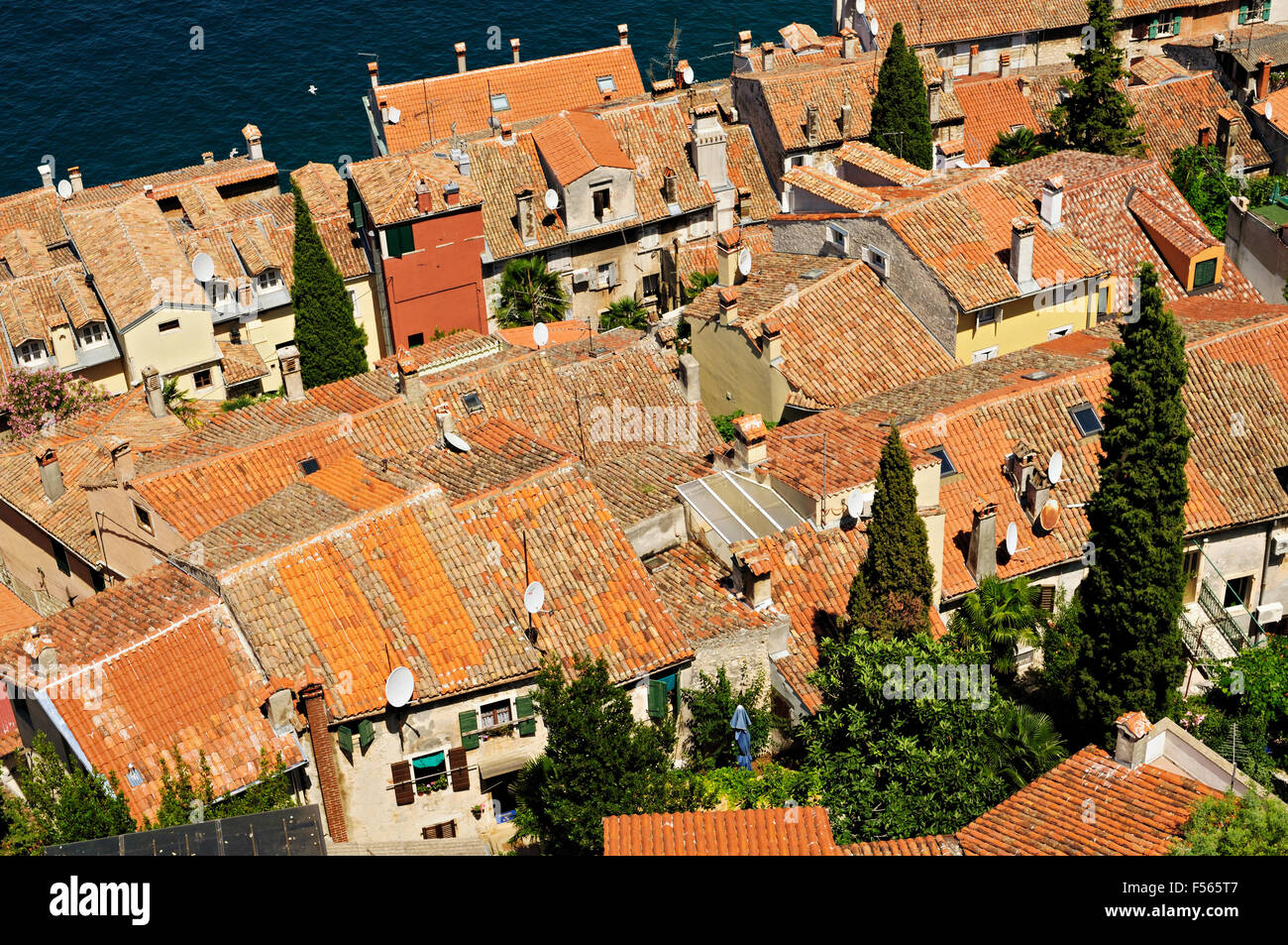 Roofs and chimneys in Rovinj, Istria, Croatia - Stock Image