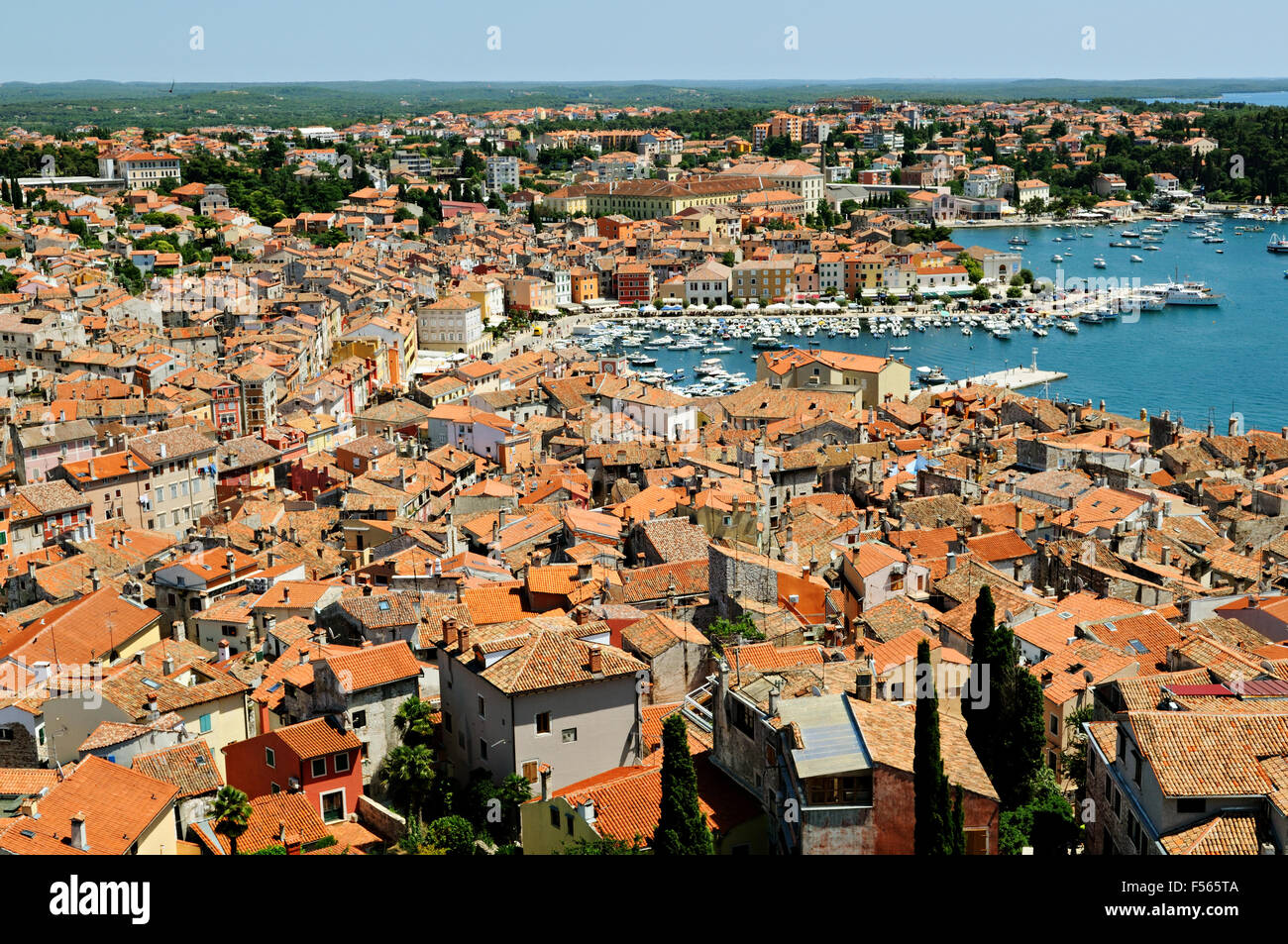 Old town and harbor of Rovinj seen from the bell tower of Saint Euphemia's basilica, Istria, Croatia - Stock Image