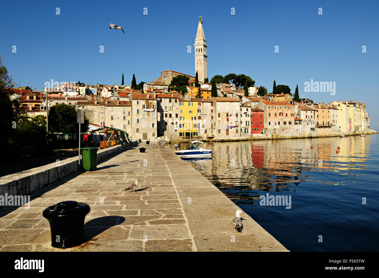 Old Town of Rovinj with bell tower of Saint Euphemia's basilica, Istria, Croatia - Stock Image