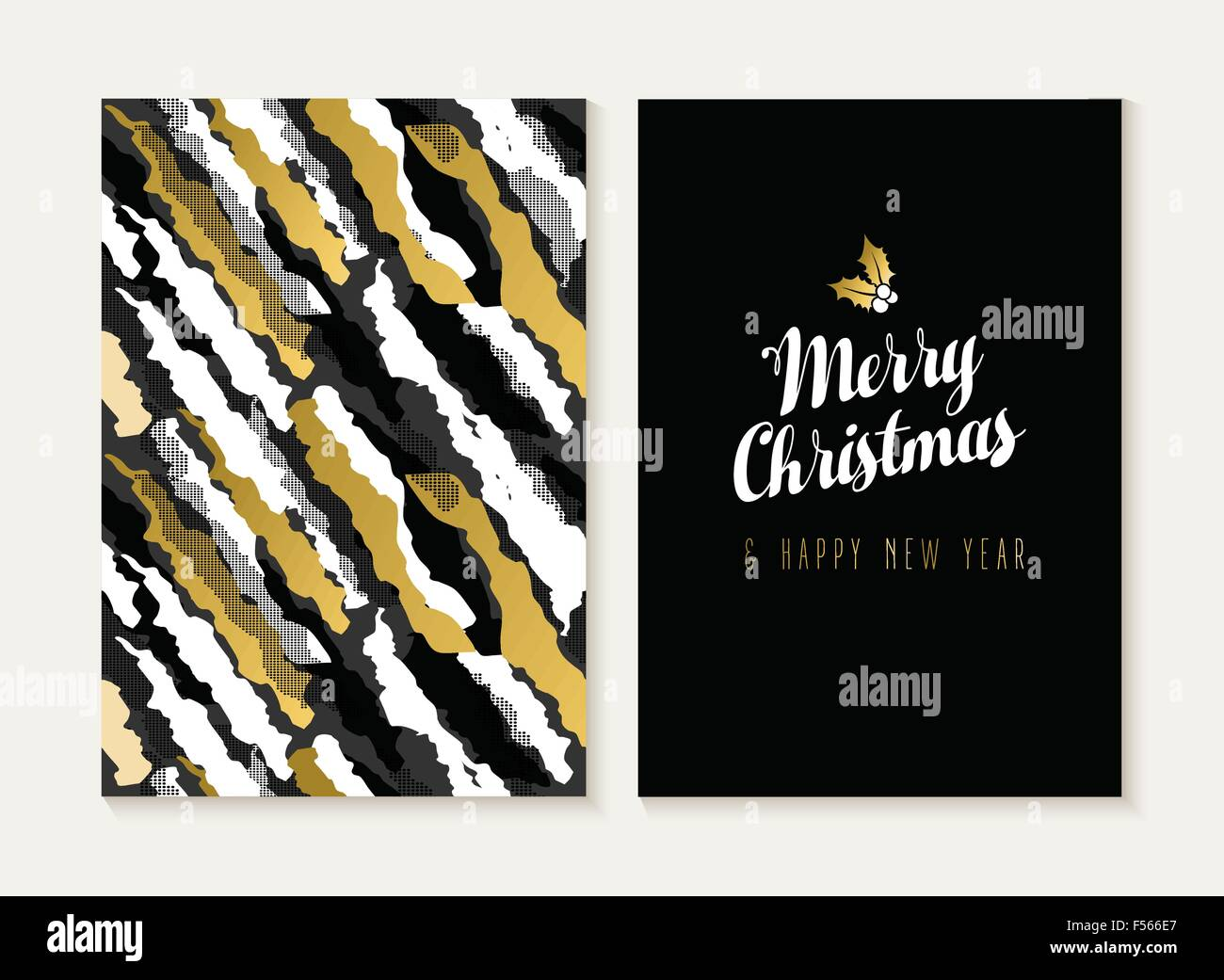 merry christmas and happy new year card template set with retro 80s style seamless pattern and trendy holiday text in gold metal