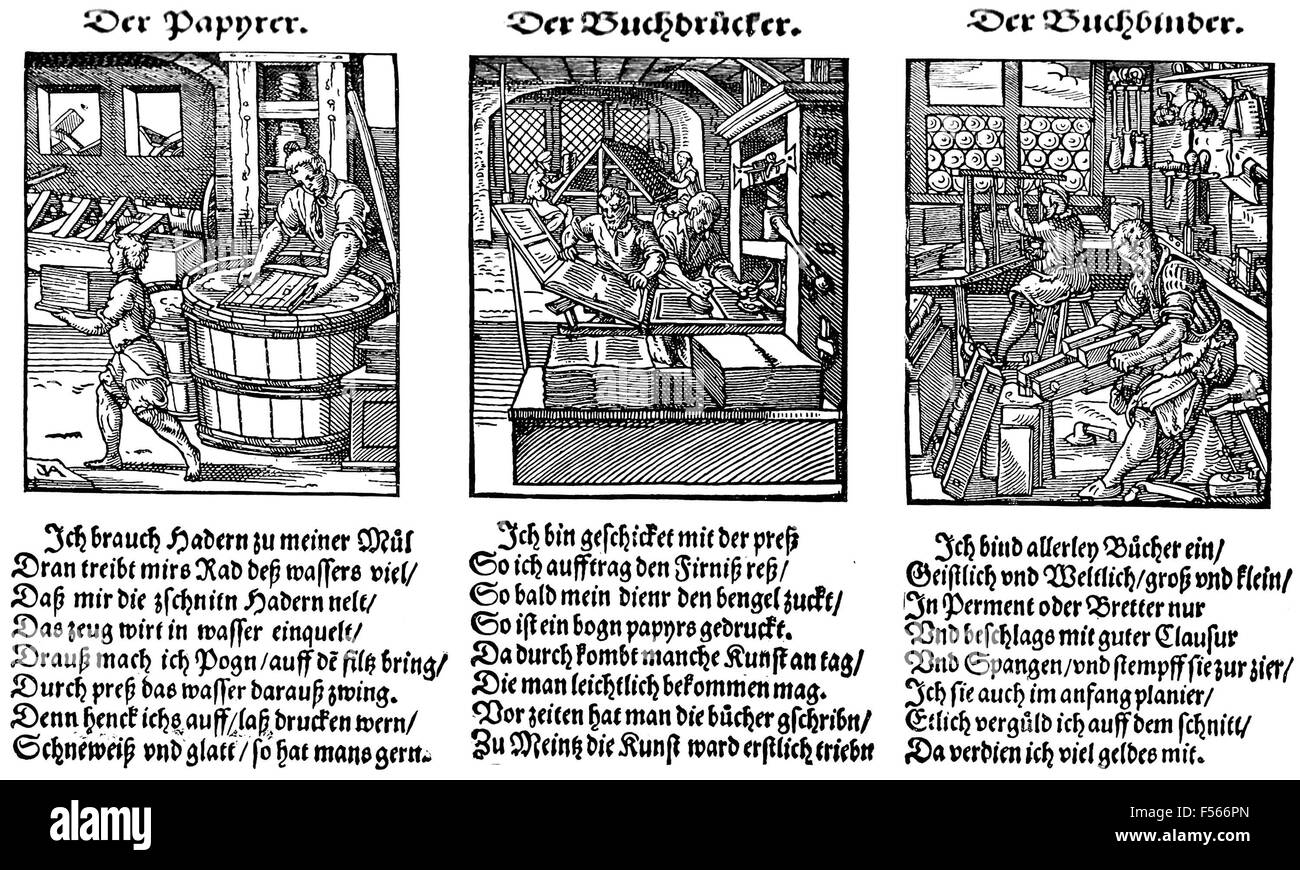 BOOKMAKING  16th century German woodcut showing from left: paper making, printing, bookbinding - Stock Image