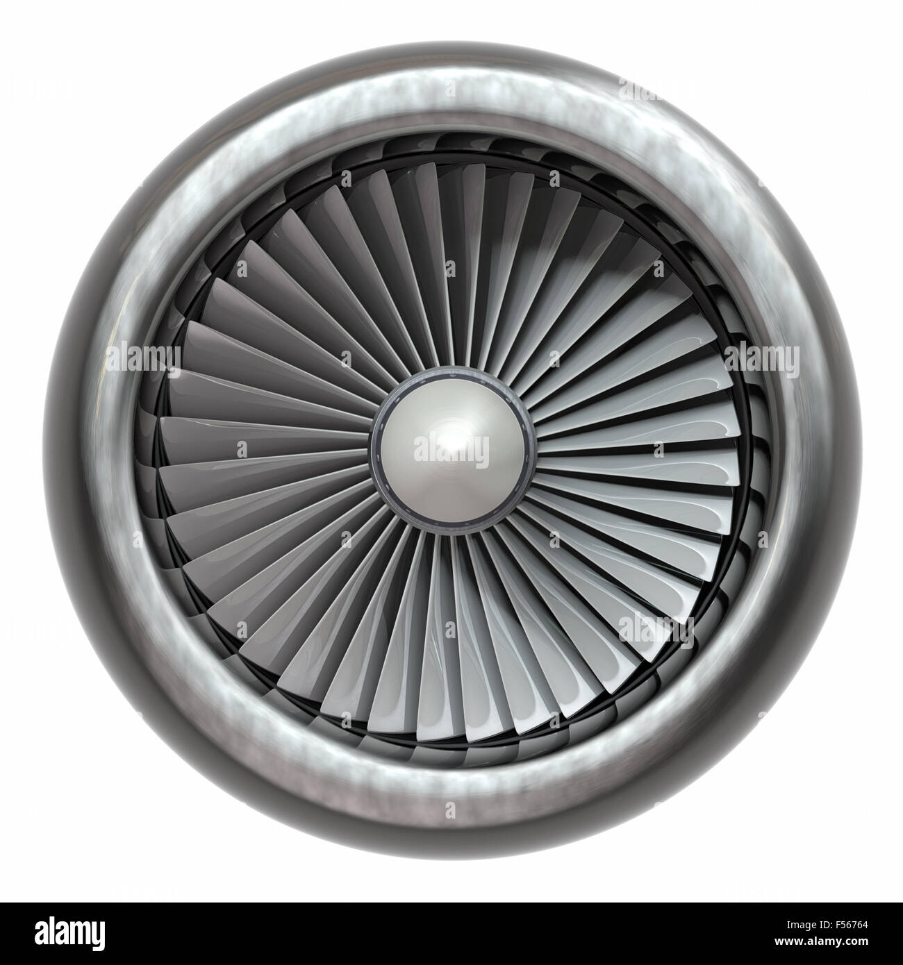 Jet engine, turbine blades of airplane, 3d illustration - Stock Image