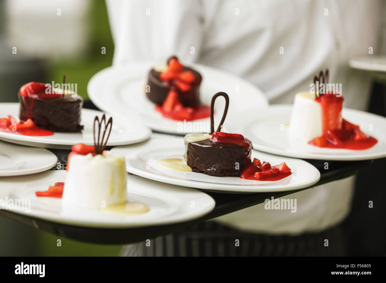 Set of sweets and desserts on a wedding party - Stock Image