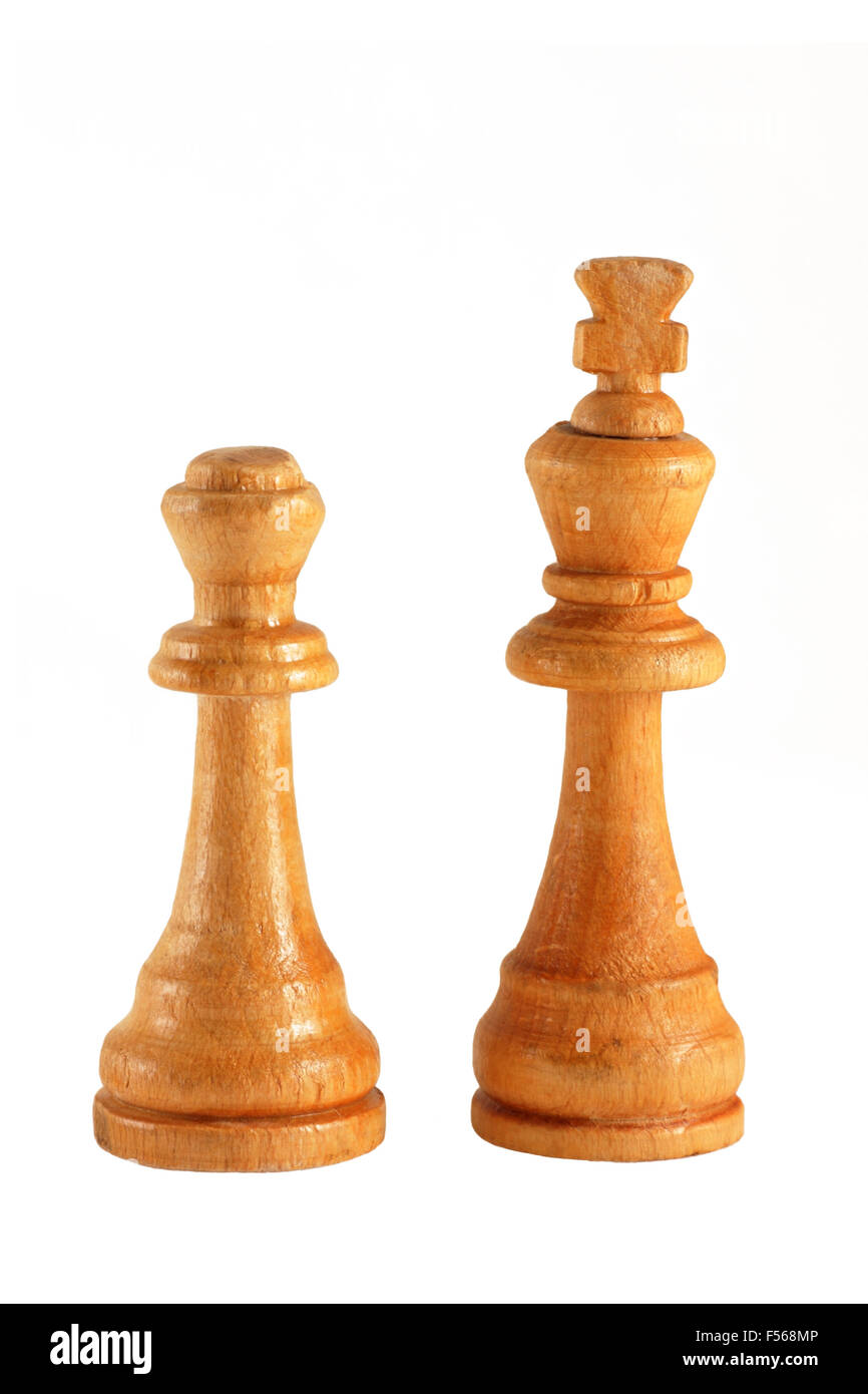 wooden chess pieces isolated on a white background - Stock Image