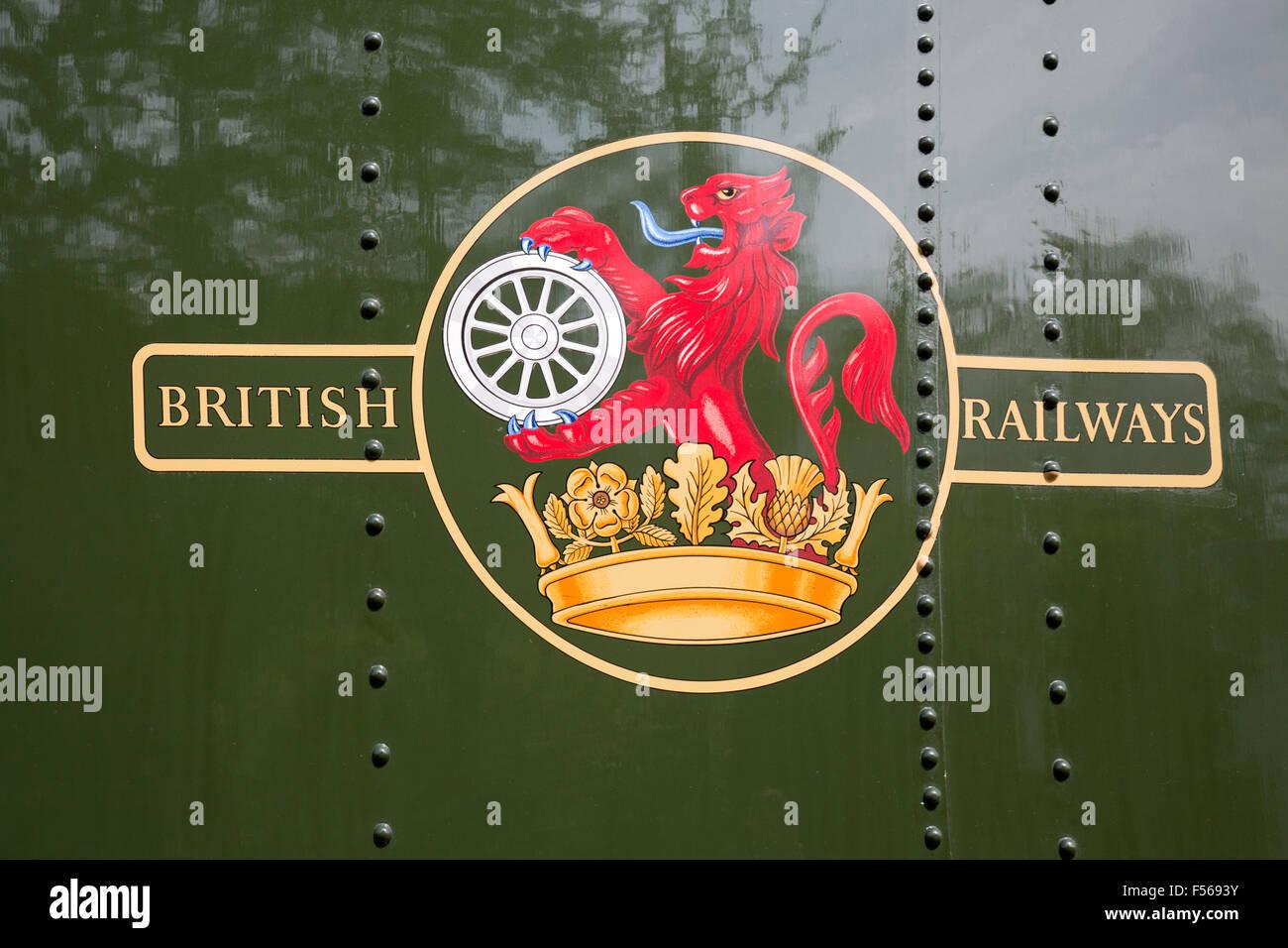British Railways Emblem; on Dean Forest Railway Engine; Gloucestershire; UK - Stock Image