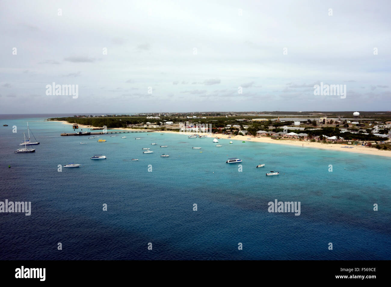 Panoramic view of Grand Turk from above, Grand Turk, Turks  and Caicos, Caribbean - Stock Image
