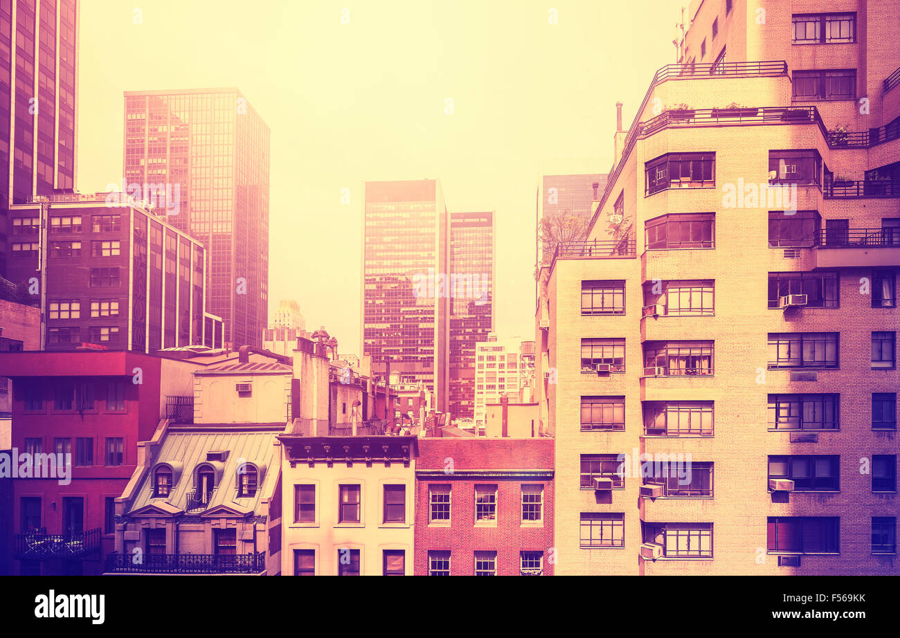 Vintage stylized picture of Manhattan, New York City, USA. - Stock Image