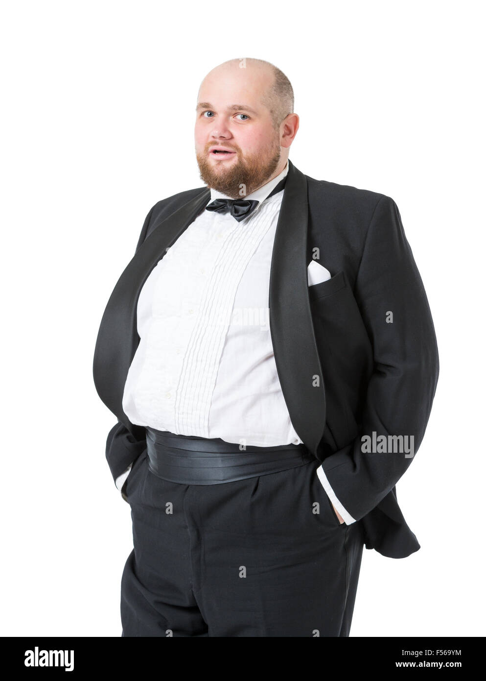 Jolly Fat Man in Tuxedo and Bow tie Shows Emotions, on white background - Stock Image