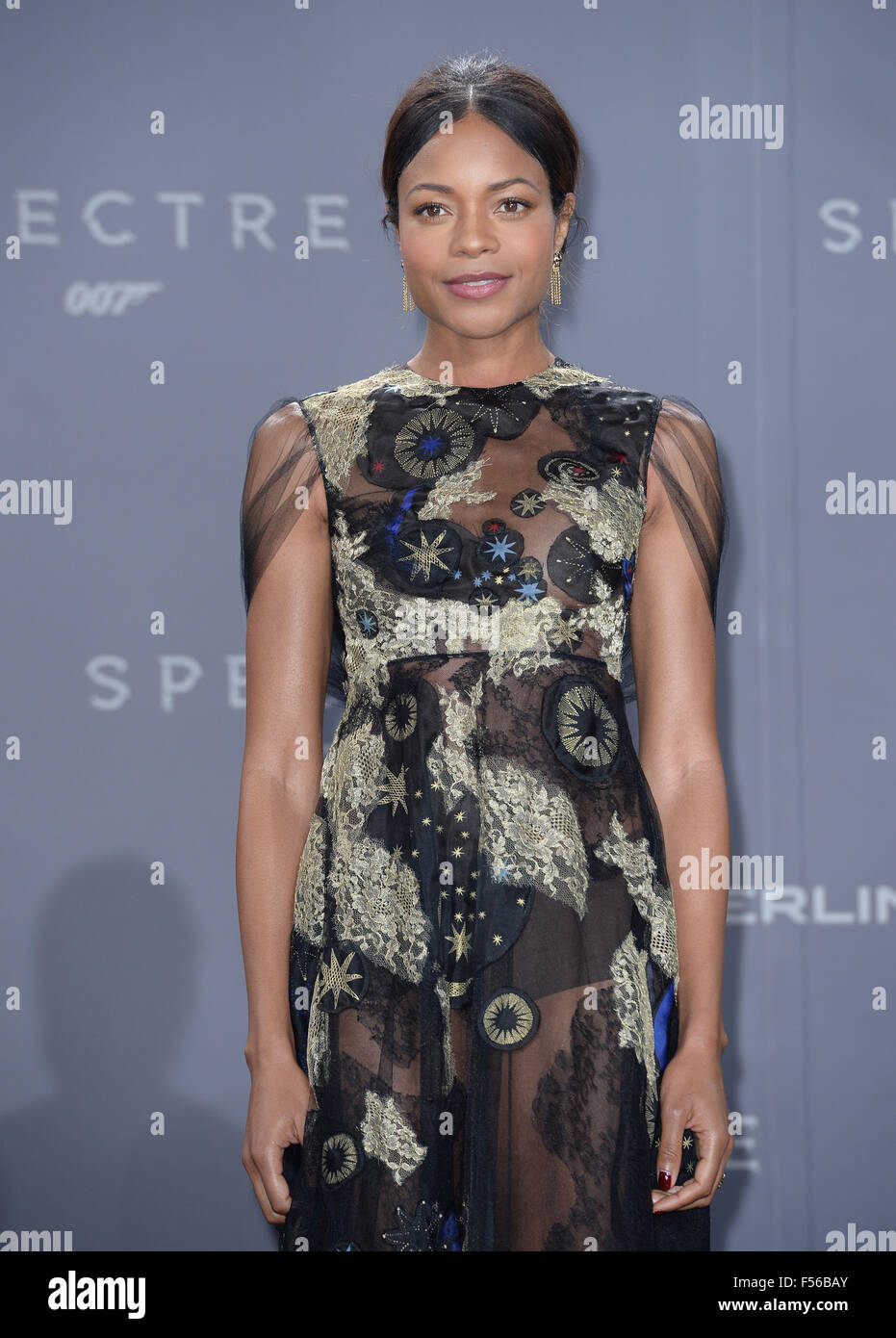 Actress Naomie Harris poses at Potsdamer Platz in Berlin, Germany, for German premiere of the new James Bond film - Stock Image