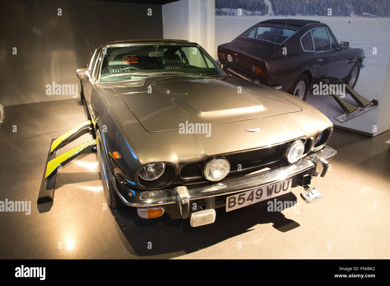 Aston Martin V8 used in James Bond 'Living Daylights' 1987 film. BOND IN MOTION, James Bond exhibition, - Stock Image